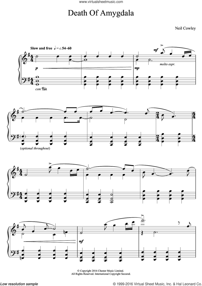 Death Of Amygdala sheet music for piano solo by Neil Cowley Trio and Neil Cowley, intermediate skill level