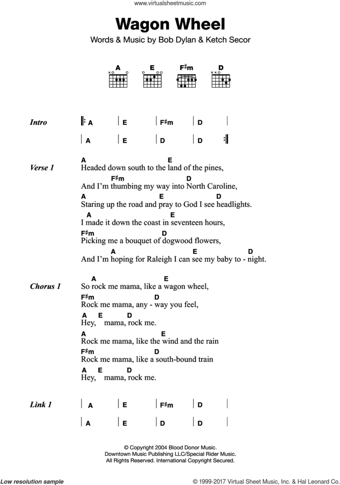 Wagon Wheel sheet music for guitar (chords) by Old Crow Medicine Show, intermediate skill level