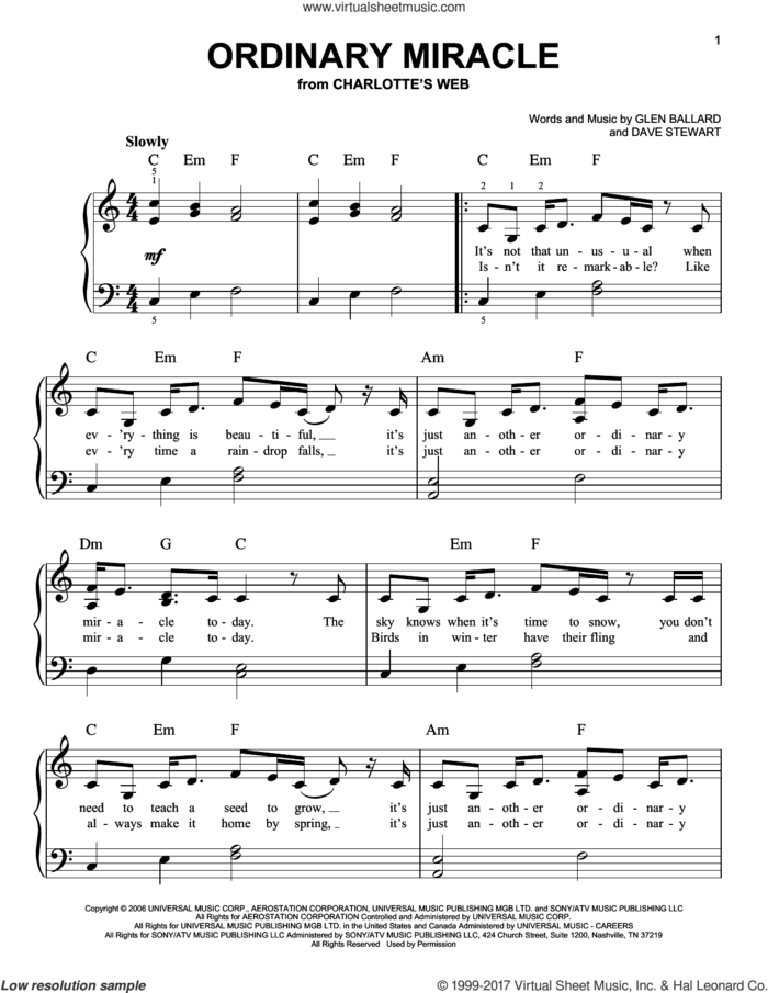 Ordinary Miracle sheet music for piano solo by Sarah McLachlan, Dave Stewart and Glen Ballard, easy skill level