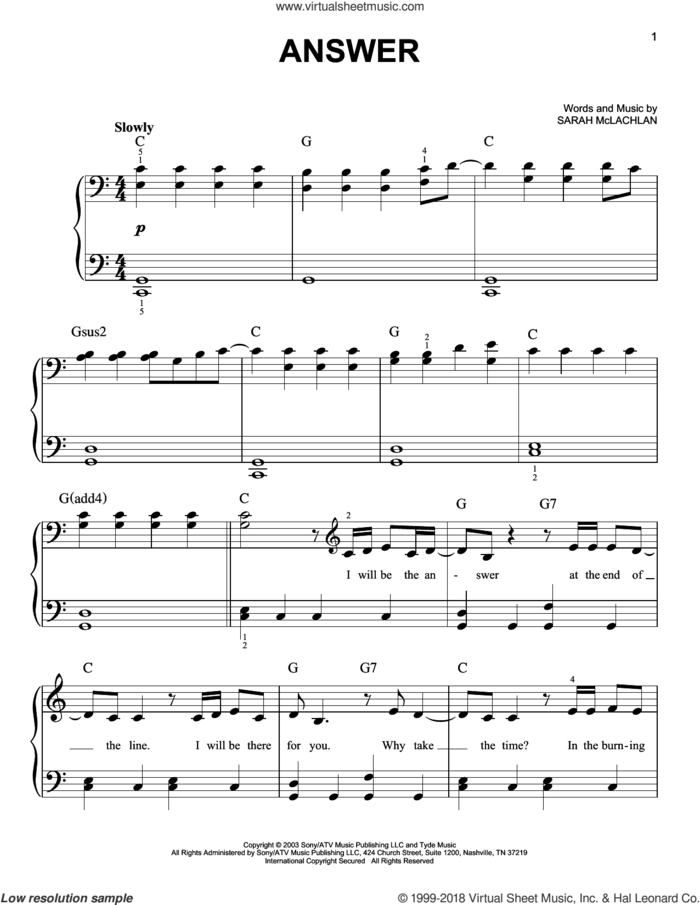 Answer sheet music for piano solo by Sarah McLachlan, easy skill level