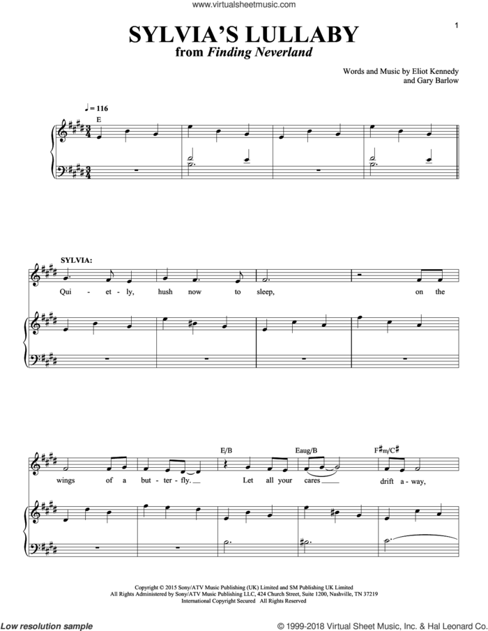 Sylvia's Lullaby sheet music for voice and piano by Gary Barlow & Eliot Kennedy, Eliot Kennedy and Gary Barlow, intermediate skill level