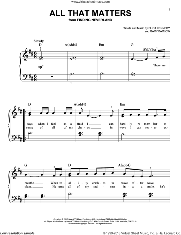 All That Matters sheet music for piano solo by Gary Barlow & Eliot Kennedy, Eliot Kennedy and Gary Barlow, easy skill level