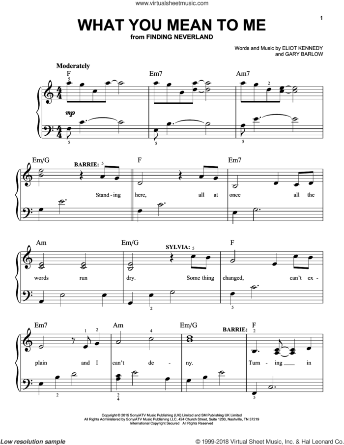 What You Mean To Me sheet music for piano solo by Gary Barlow & Eliot Kennedy, Eliot Kennedy and Gary Barlow, easy skill level