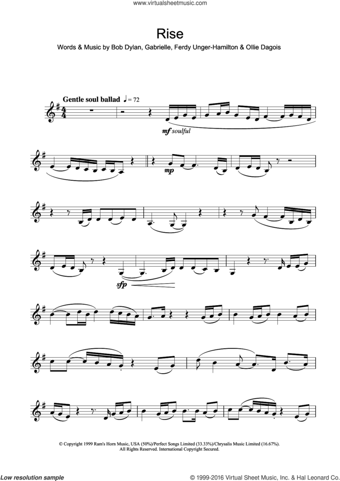 Rise sheet music for clarinet solo by Gabrielle, Bob Dylan, Ferdy Unger-Hamilton and Ollie Dagois, intermediate skill level