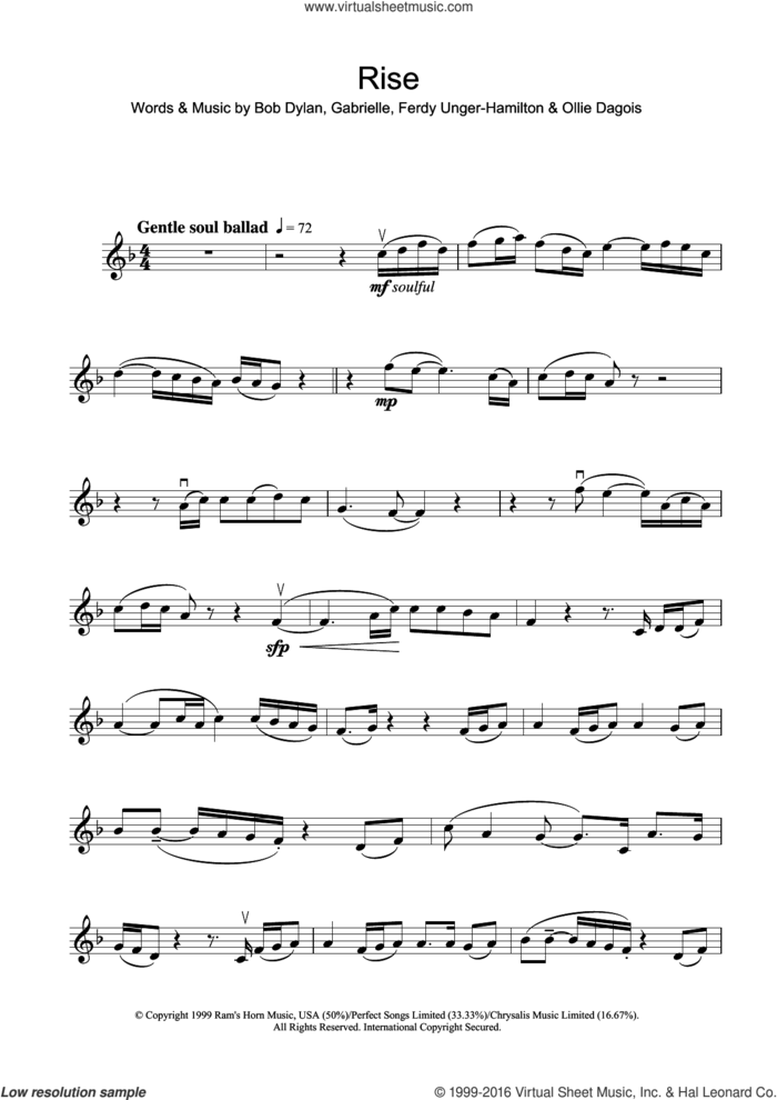Rise sheet music for violin solo by Gabrielle, Bob Dylan, Ferdy Unger-Hamilton and Ollie Dagois, intermediate skill level