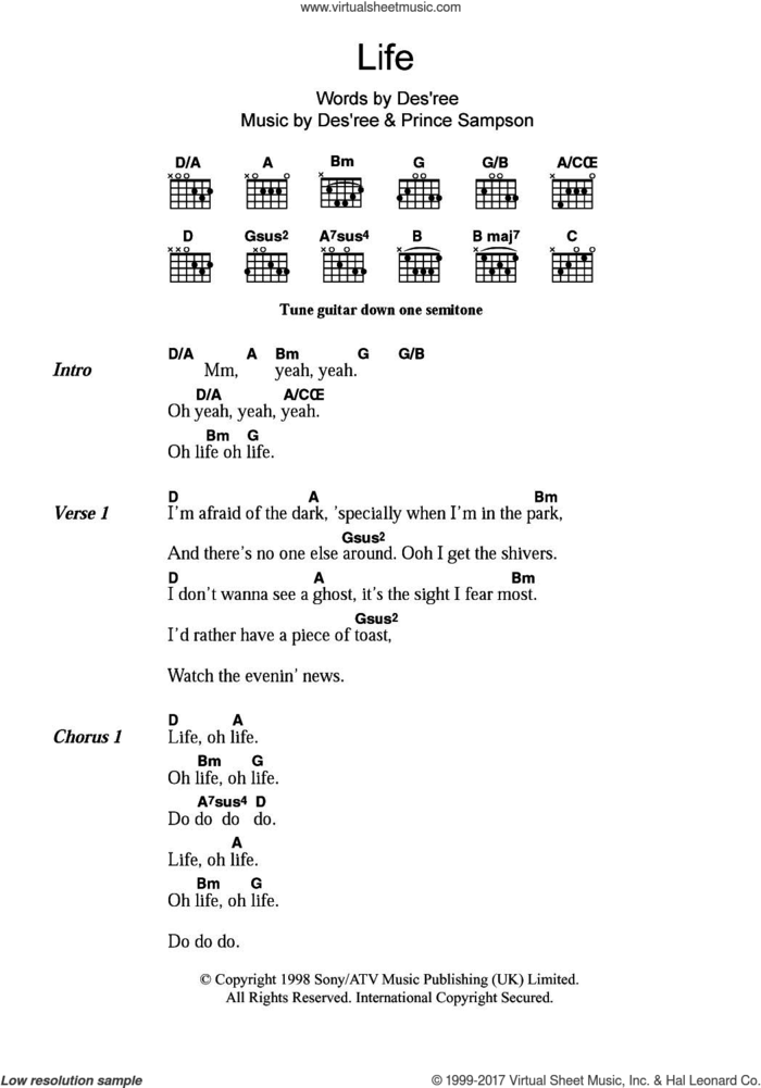 Life sheet music for guitar (chords) by Des'ree and Prince Sampson, intermediate skill level