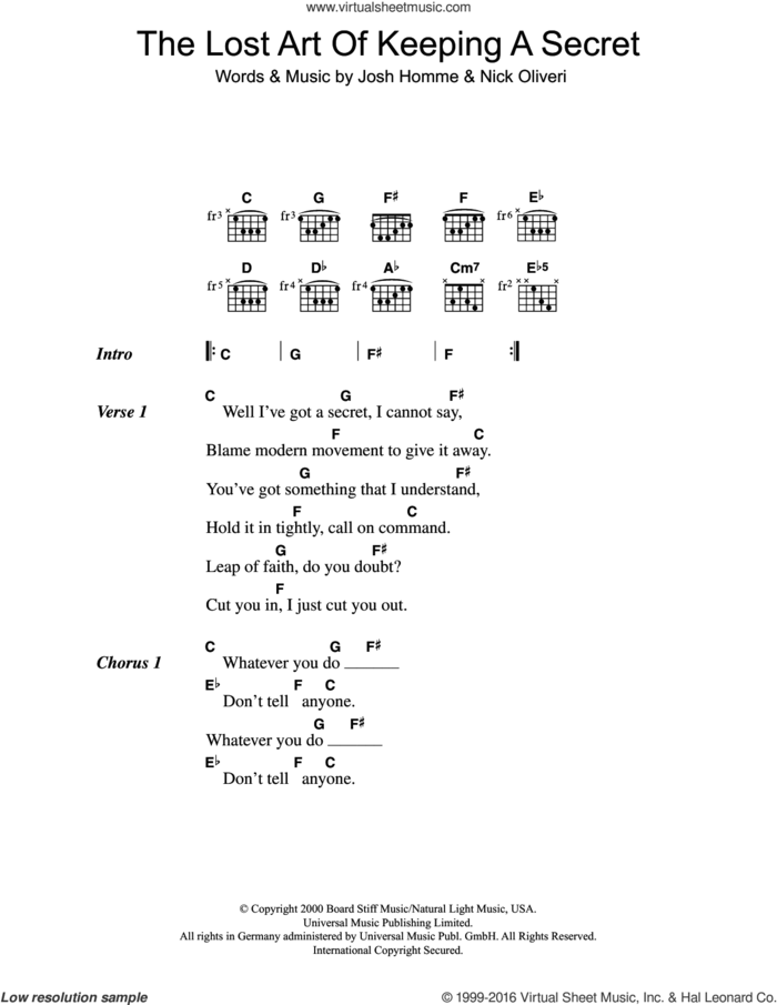 The Lost Art Of Keeping A Secret sheet music for guitar (chords) by Queens Of The Stone Age, Josh Homme and Nick Oliveri, intermediate skill level
