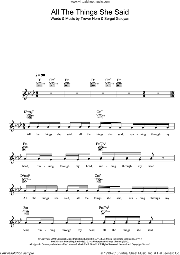All The Things She Said sheet music for voice and other instruments (fake book) by Tatu, Sergei Galoyan and Trevor Horn, intermediate skill level
