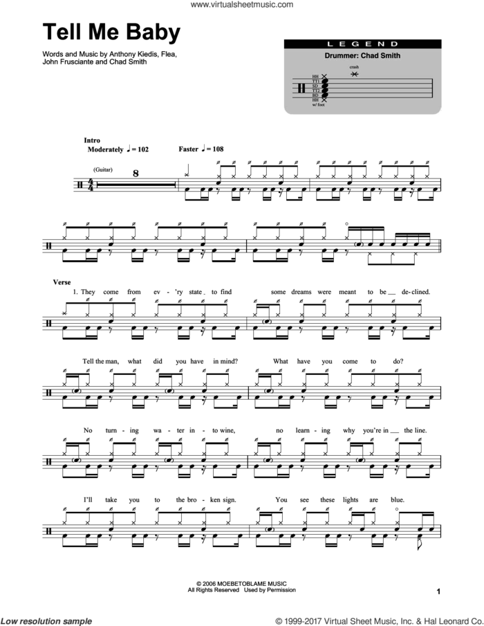 Tell Me Baby sheet music for drums by Red Hot Chili Peppers, Anthony Kiedis, Chad Smith, Flea and John Frusciante, intermediate skill level