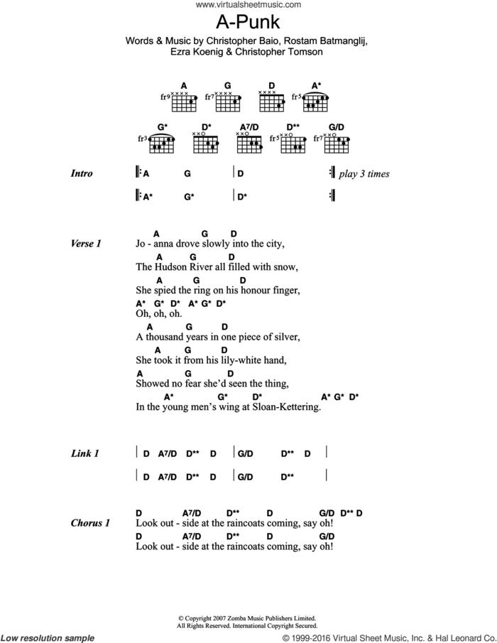 A-Punk sheet music for guitar (chords) by Vampire Weekend, Christopher Baio, Christopher Tomson, Ezra Koenig and Rostam Batmanglij, intermediate skill level