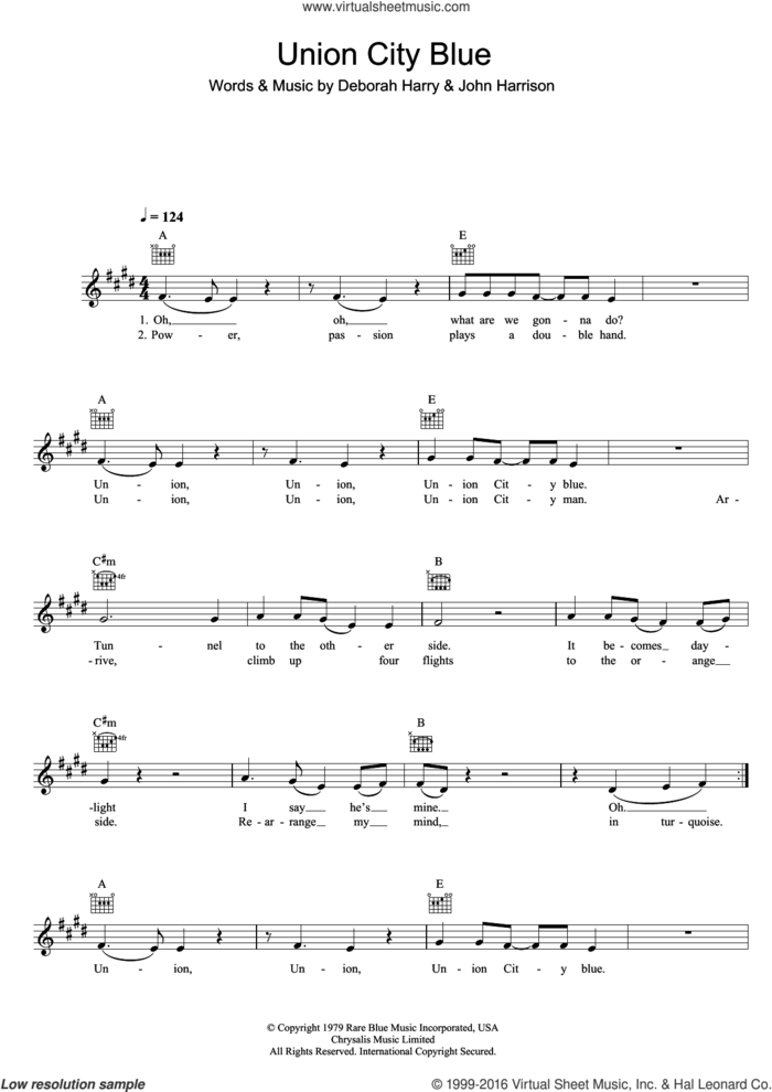 Union City Blue sheet music for voice and other instruments (fake book) by Blondie, Deborah Harry and John Harrison, intermediate skill level
