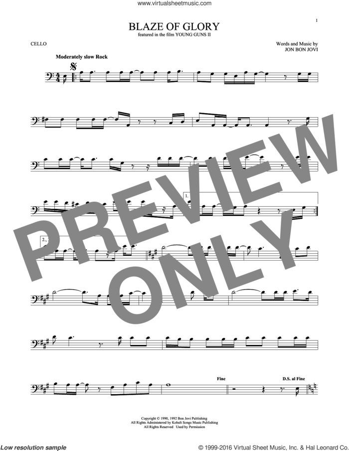 Blaze Of Glory sheet music for cello solo by Bon Jovi, intermediate skill level