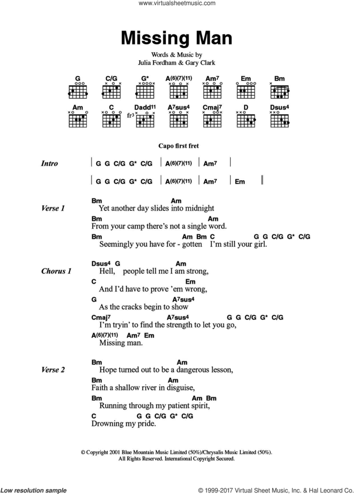 Missing Man sheet music for guitar (chords) by Julia Fordham and Gary Clark, intermediate skill level