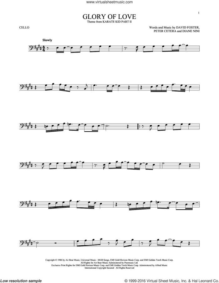 Glory Of Love sheet music for cello solo by Peter Cetera, David Foster and Diane Nini, intermediate skill level