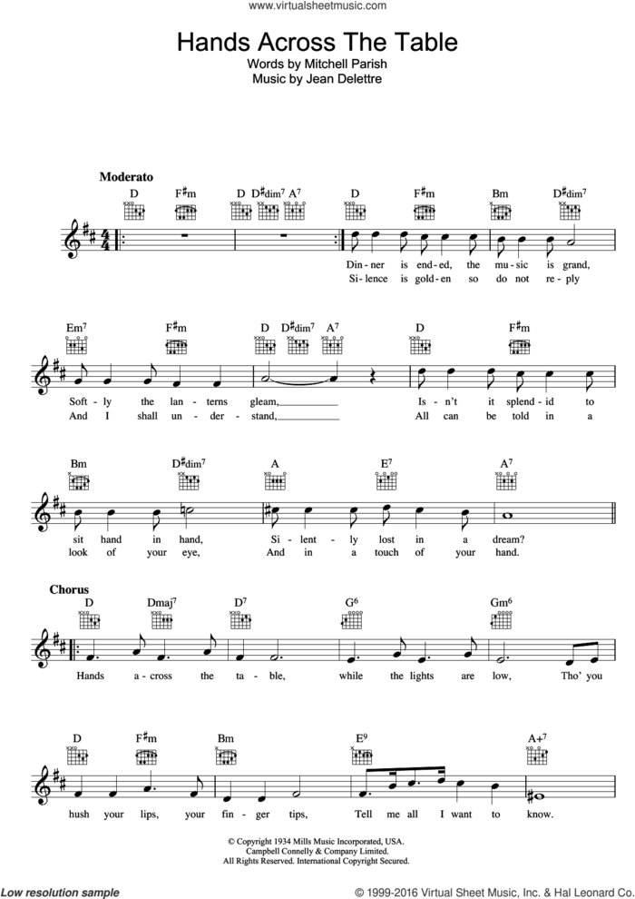 Hands Across The Table sheet music for voice and other instruments (fake book) by Sarah Vaughan, Jean Delettre and Mitchell Parish, intermediate skill level