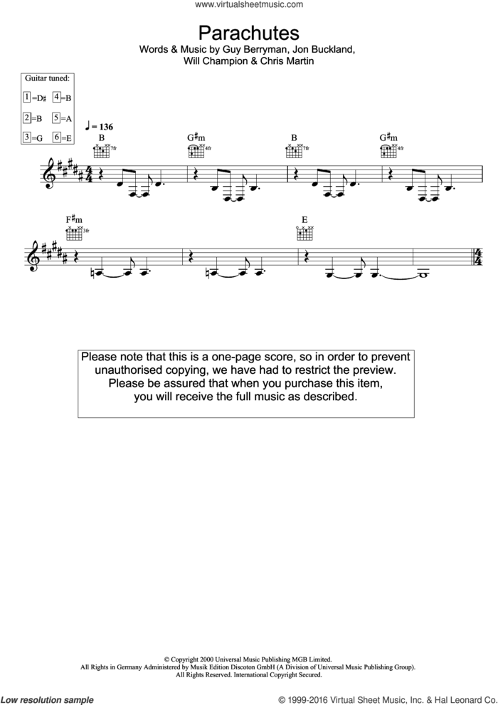 Parachutes sheet music for voice and other instruments (fake book) by Guy Berryman, Coldplay, Jonny Buckland and Will Champion, intermediate skill level