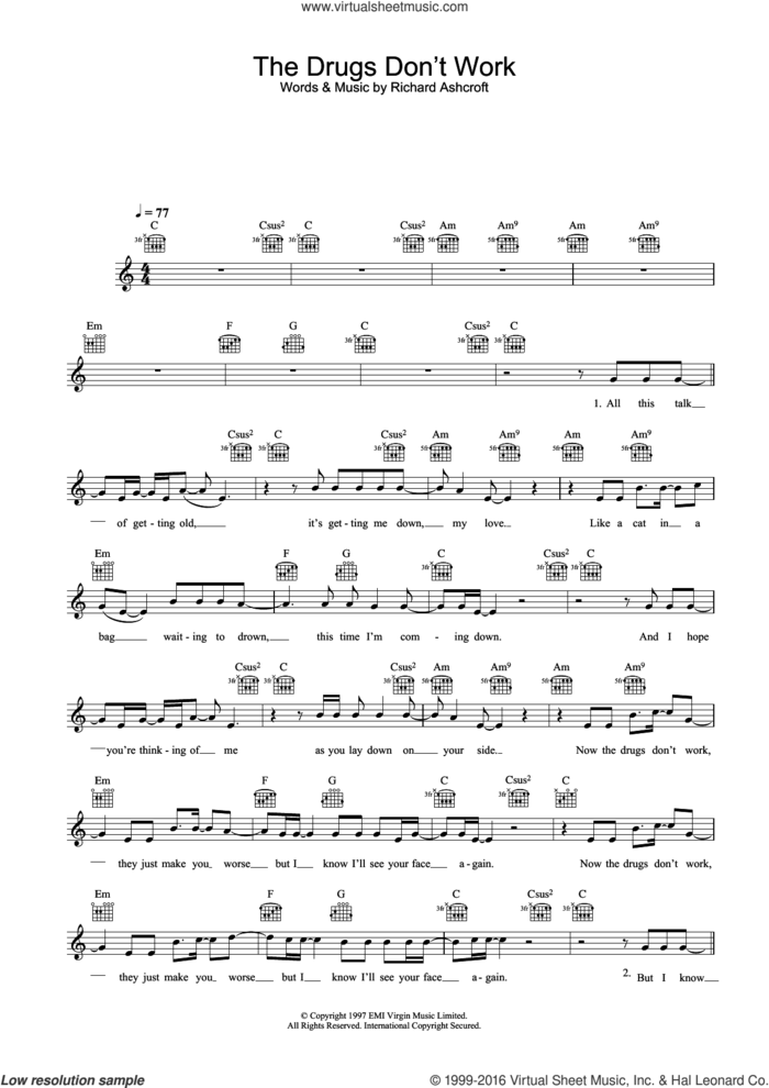 The Drugs Don't Work sheet music for voice and other instruments (fake book) by The Verve and Richard Ashcroft, intermediate skill level