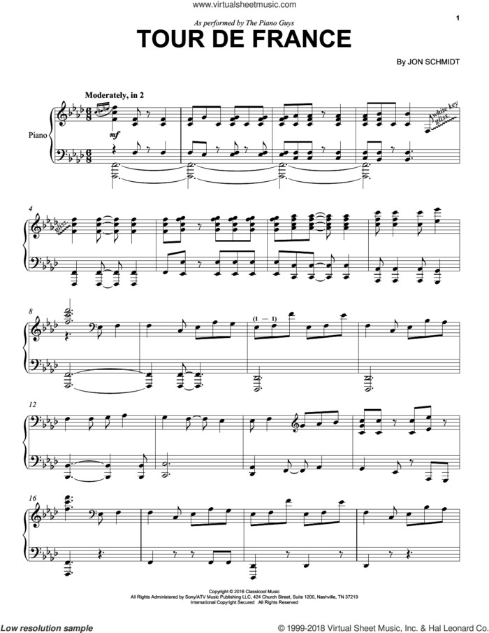 Tour De France sheet music for piano solo by The Piano Guys and Jon Schmidt, intermediate skill level