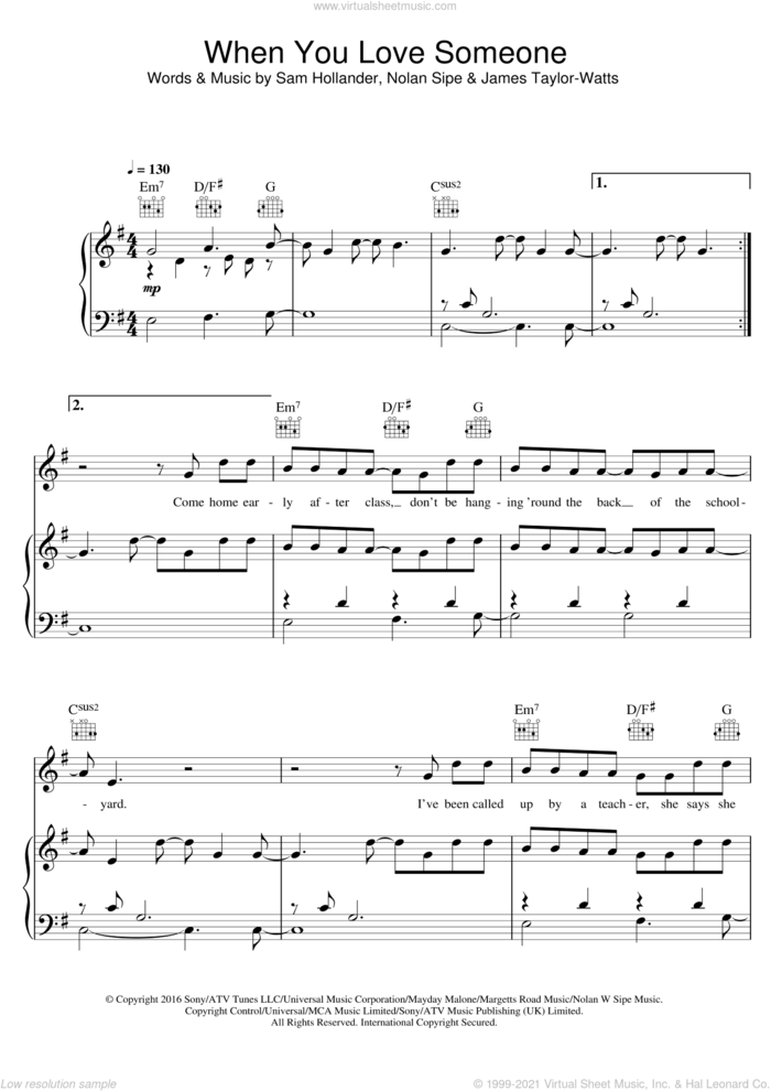 When You Love Someone sheet music for voice, piano or guitar by James TW, James Taylor-Watts, Nolan Sipe and Sam Hollander, intermediate skill level