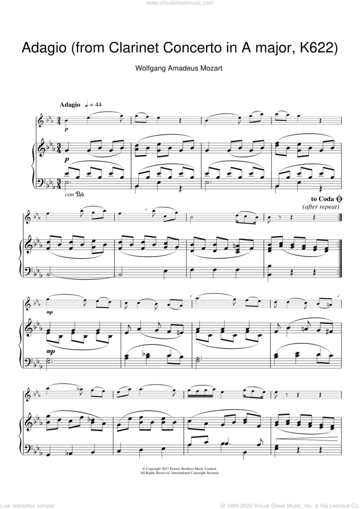 Slow Movement Theme (from Clarinet Concerto K622) sheet music for clarinet solo by Wolfgang Amadeus Mozart, classical score, intermediate skill level