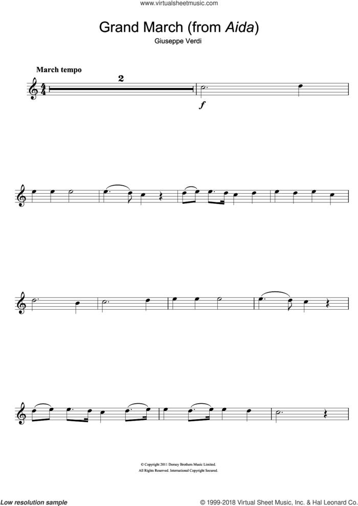 Grand March (from Aida) sheet music for flute solo by Giuseppe Verdi, classical score, intermediate skill level