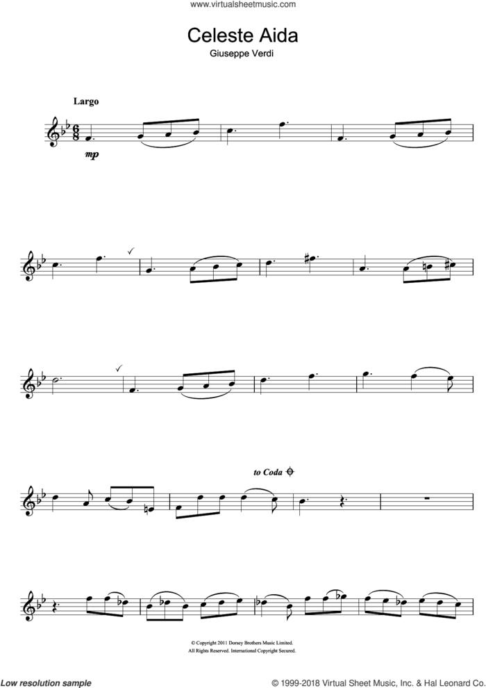 Celeste Aida (from Aida) sheet music for flute solo by Giuseppe Verdi and Antonio Ghislanzoni, classical score, intermediate skill level