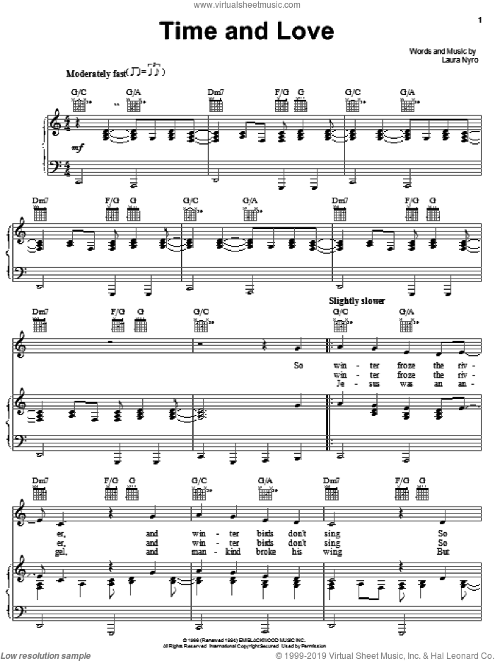 Time And Love sheet music for voice, piano or guitar by Laura Nyro, intermediate skill level