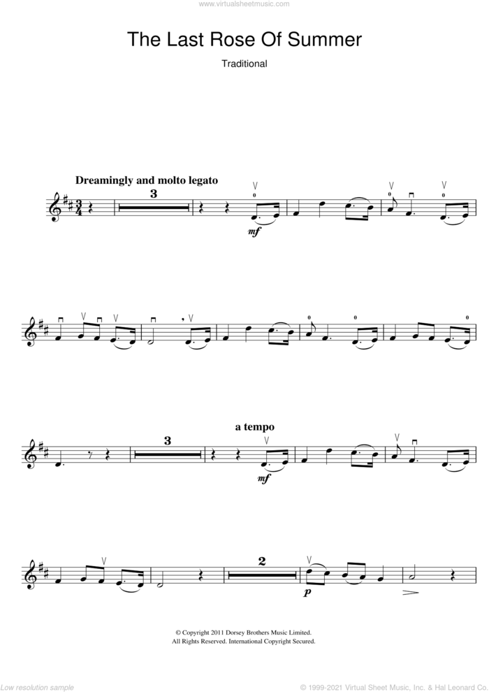 The Last Rose Of Summer sheet music for violin solo, intermediate skill level