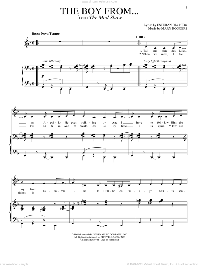 The Boy From... sheet music for voice and piano by Stephen Sondheim and Mary Rodgers, intermediate skill level