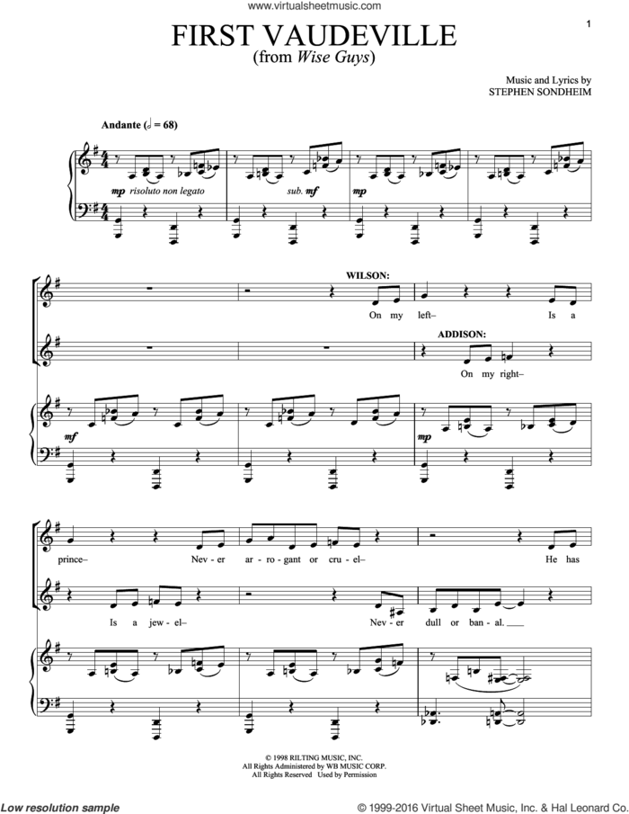 First Vaudeville sheet music for voice and piano by Stephen Sondheim, intermediate skill level