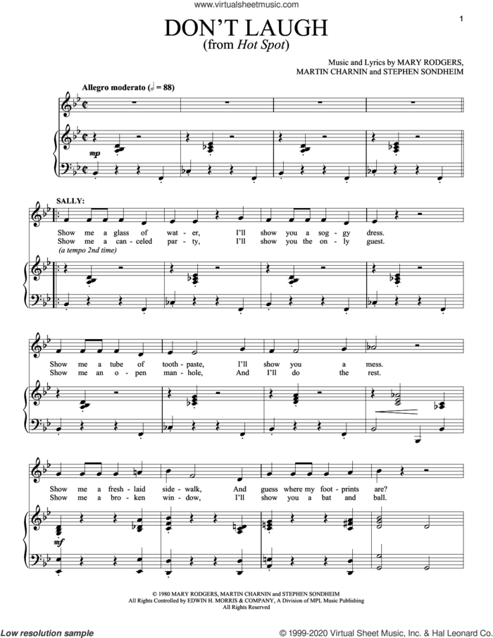 Don't Laugh sheet music for voice and piano by Stephen Sondheim, Martin Charnin and Mary Rodgers, intermediate skill level