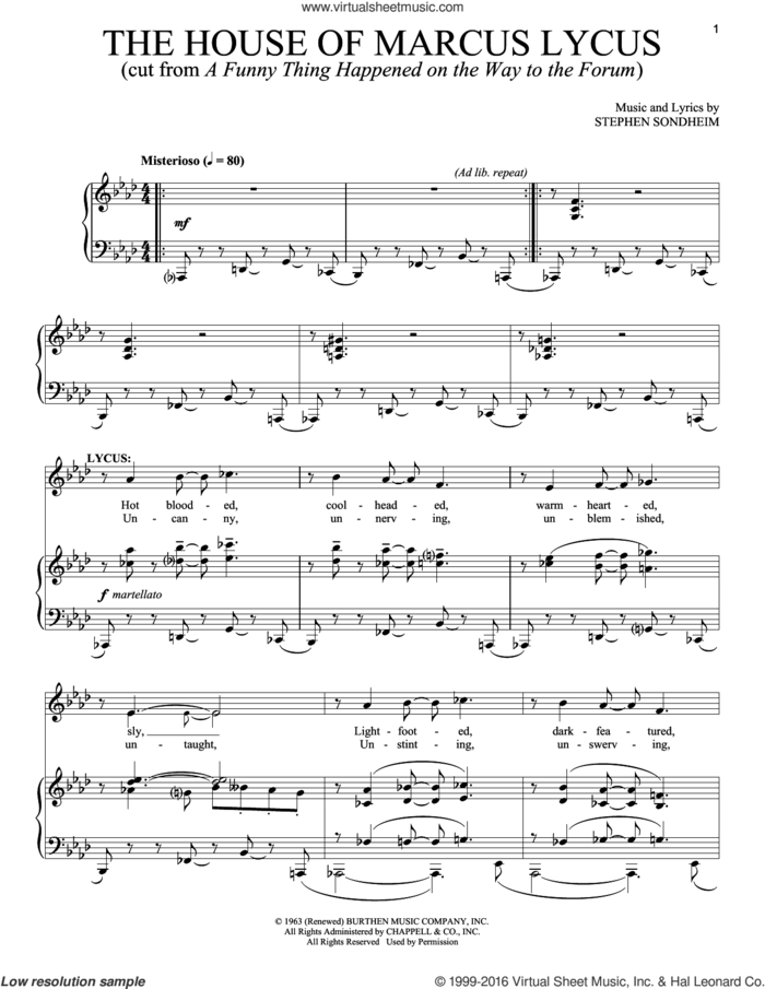 The House Of Marcus Lycus sheet music for voice and piano by Stephen Sondheim, intermediate skill level