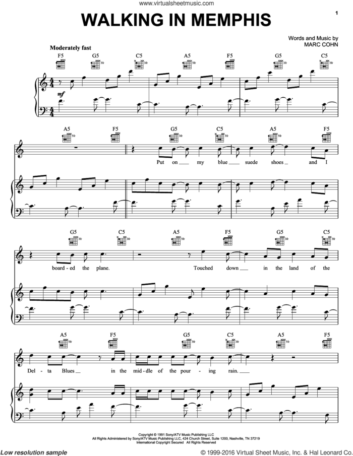 Walking In Memphis sheet music for voice, piano or guitar by Marc Cohn, intermediate skill level