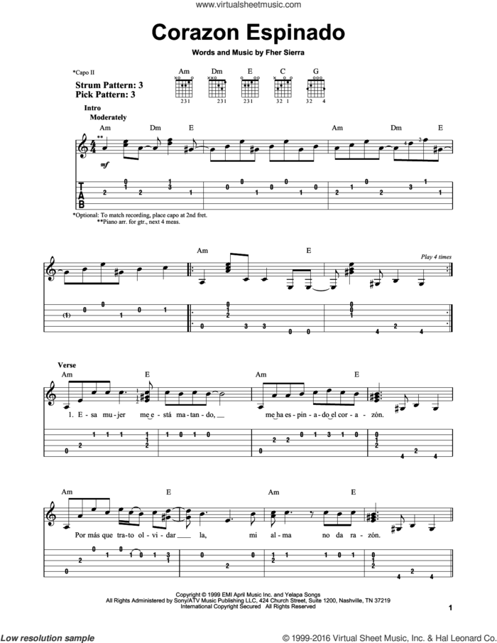 Corazon Espinado sheet music for guitar solo (easy tablature) by Carlos Santana and Fher Sierra, easy guitar (easy tablature)