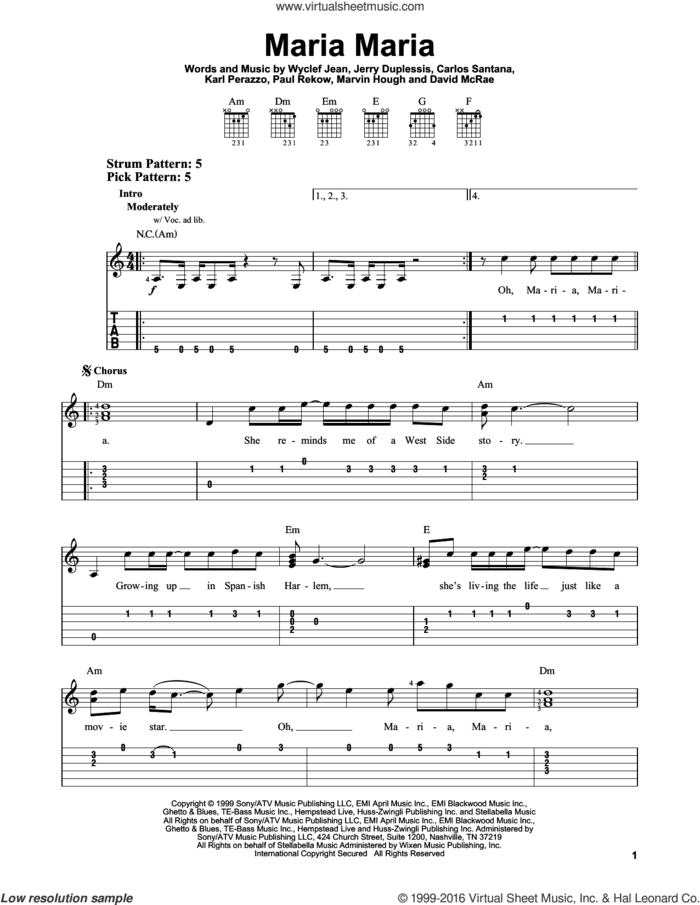 Maria Maria sheet music for guitar solo (easy tablature) by Santana featuring The Product G&B, Carlos Santana, David McRae, Jerry Duplessis, Karl Perazzo, Marvin Hough, Paul Rekow and Wyclef Jean, easy guitar (easy tablature)