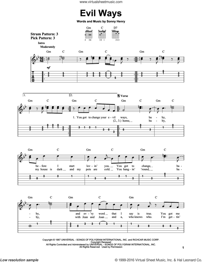 Evil Ways sheet music for guitar solo (easy tablature) by Carlos Santana and Sonny Henry, easy guitar (easy tablature)