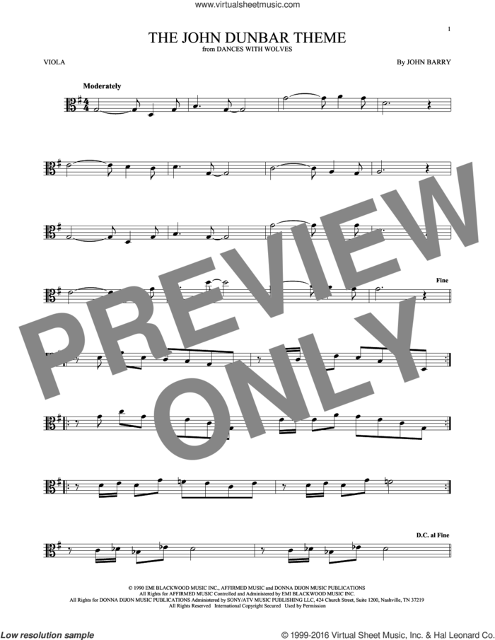 The John Dunbar Theme sheet music for viola solo by John Barry, intermediate skill level