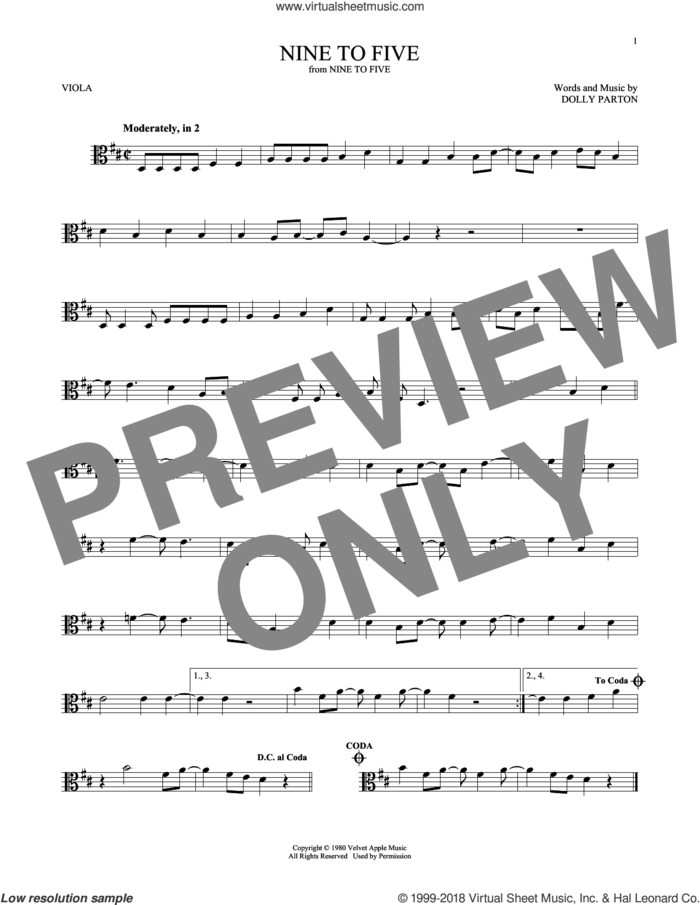 Nine To Five sheet music for viola solo by Dolly Parton, intermediate skill level