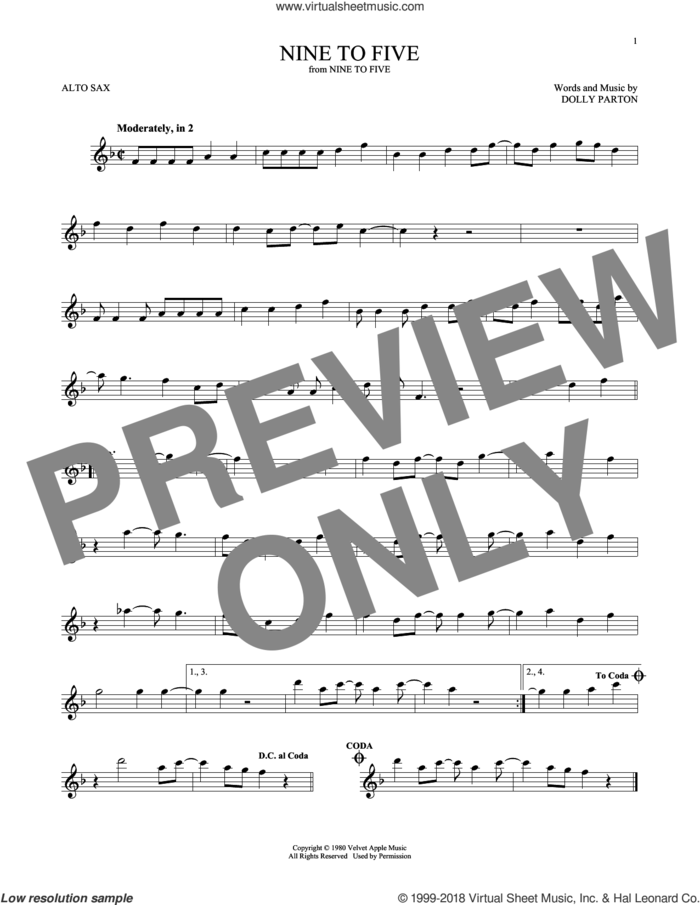 Nine To Five sheet music for alto saxophone solo by Dolly Parton, intermediate skill level