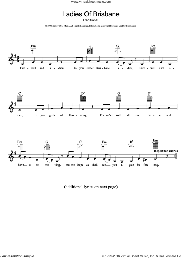 Ladies Of Brisbane sheet music for voice and other instruments (fake book), intermediate skill level