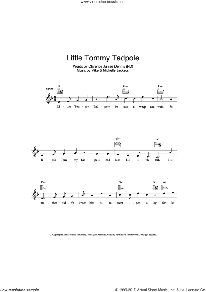 Little Tommy Tadpole sheet music for voice and other instruments (fake book) by Clarence James Dennis, Michelle Jackson and Mike Jackson, intermediate skill level