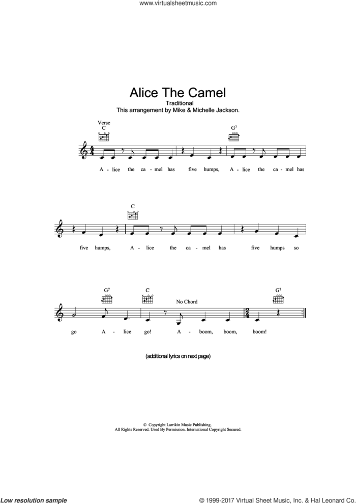 Alice The Camel sheet music for voice and other instruments (fake book), intermediate skill level