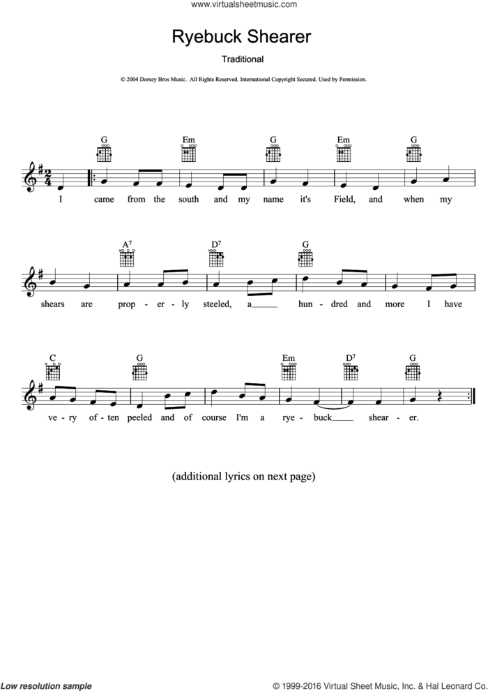 Ryebuck Shearer sheet music for voice and other instruments (fake book), intermediate skill level