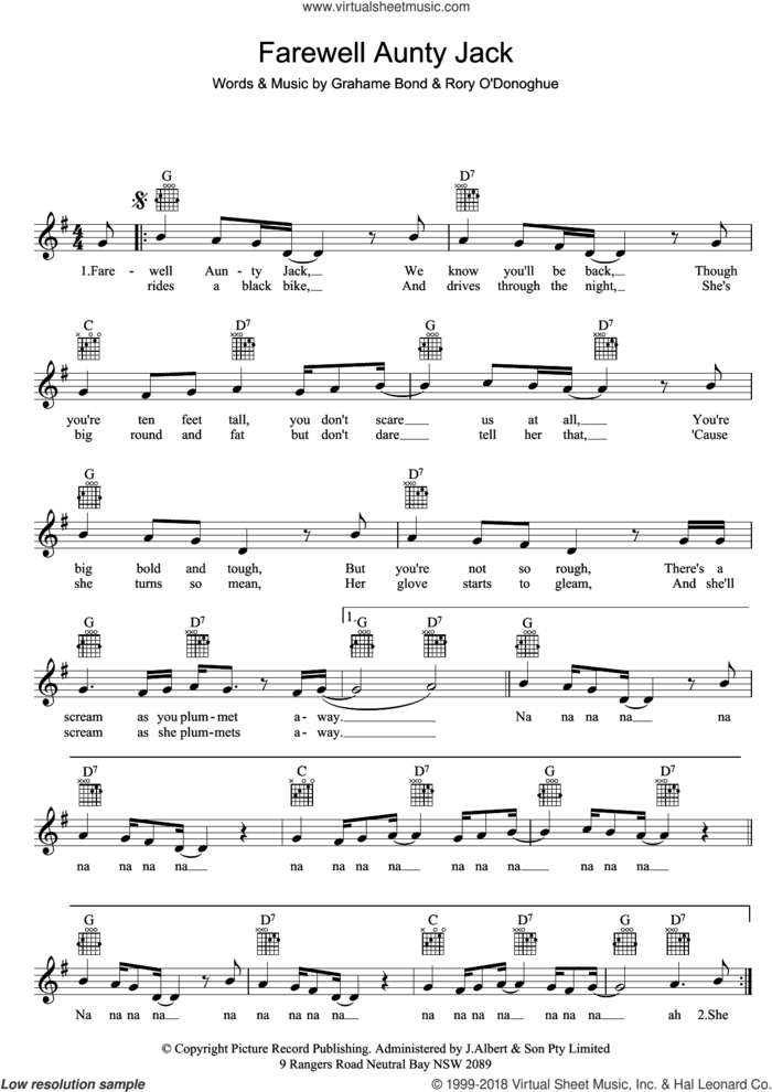 Farewell Aunty Jack sheet music for voice and other instruments (fake book) by Grahame Bond, intermediate skill level