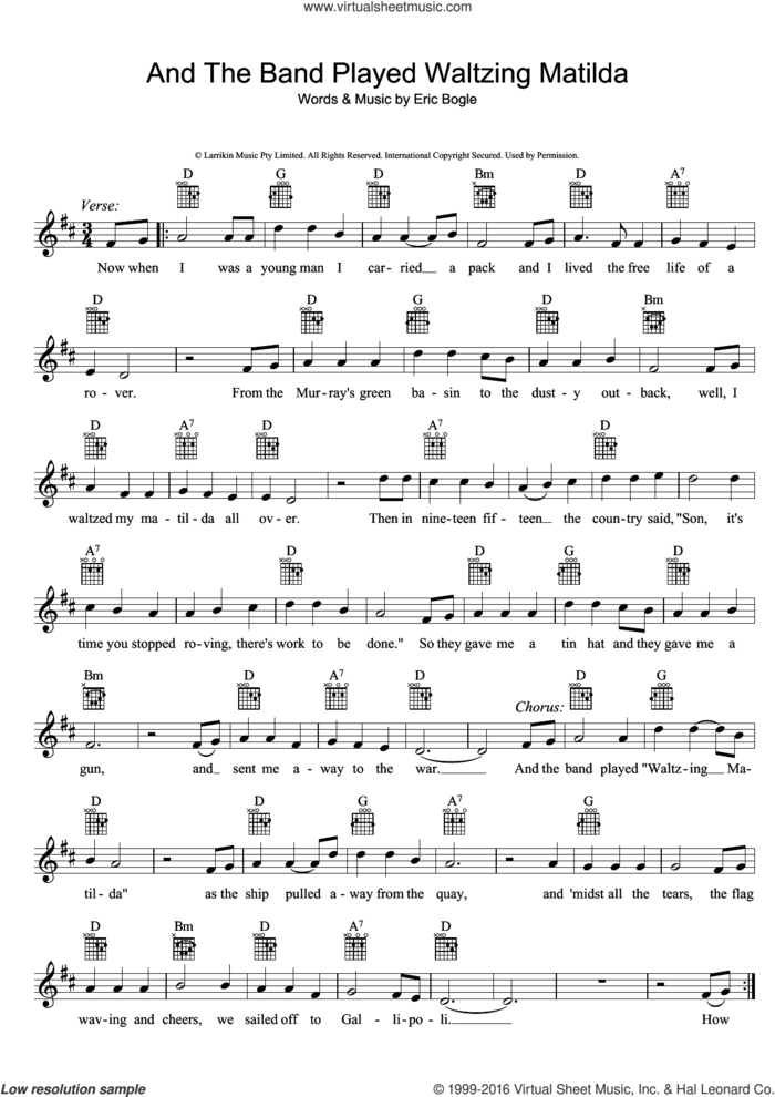 And The Band Played Waltzing Matilda sheet music for voice and other instruments (fake book) by Eric Bogle, intermediate skill level
