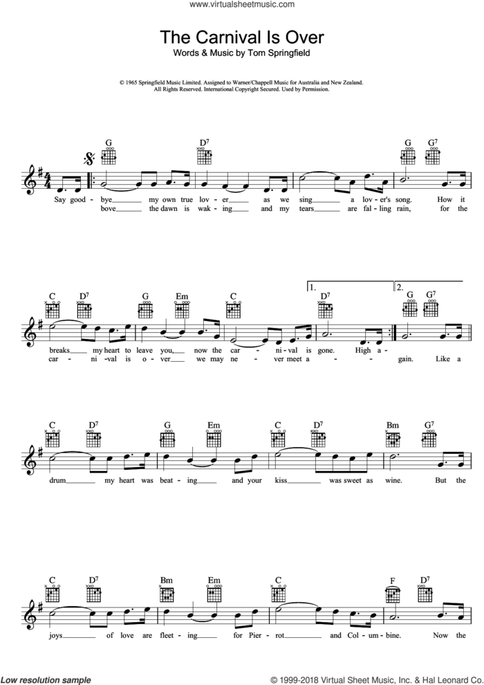 The Carnival Is Over sheet music for voice and other instruments (fake book) by The Seekers and Tom Springfield, intermediate skill level