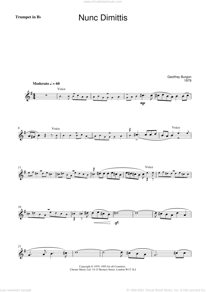 Nunc Dimittis (theme from Tinker, Tailor, Soldier, Spy) sheet music for voice and trumpet by Geoffrey Burgon, intermediate skill level