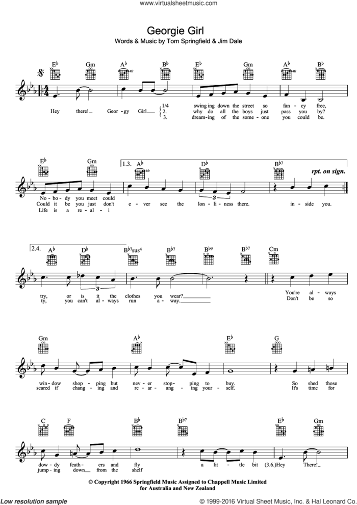 Georgie Girl sheet music for voice and other instruments (fake book) by The Seekers, Jim Dale and Tom Springfield, intermediate skill level