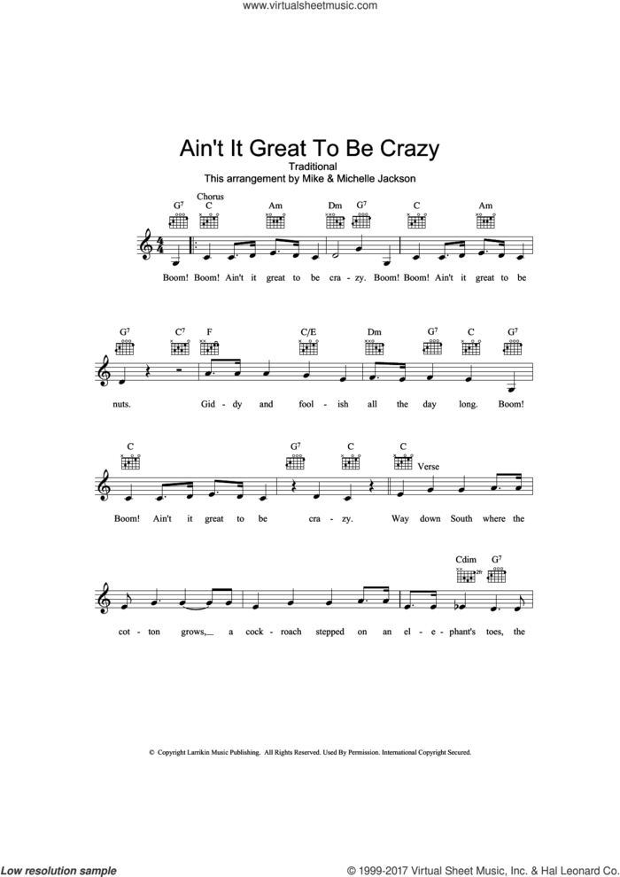 Ain't It Great To Be Crazy sheet music for voice and other instruments (fake book), intermediate skill level