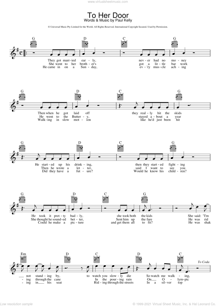 To Her Door sheet music for voice and other instruments (fake book) by Paul Kelly, intermediate skill level
